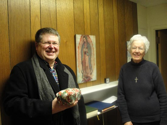 Fr. Mike Joncas with Sr. Margaret following Eucharist celebrating Our Lady of Guadalupe.