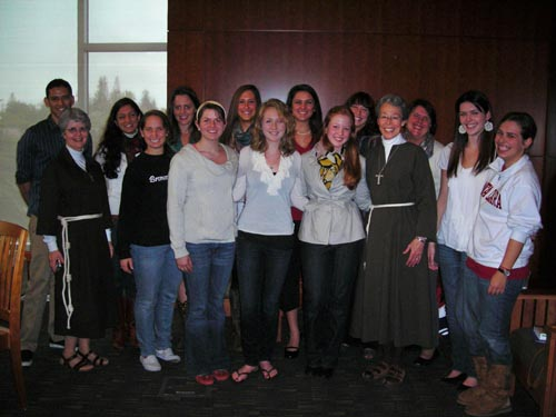 Poor Clare Sisters speak with university community on how Clare of Assisi can be a light to our world.